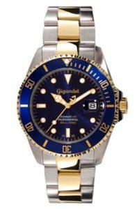"4. Taucheruhren Automatik - Gigandet Herren Automatik-Armbanduhr ""Sea Ground"" Analog Edelstahlarmband Blau Gold G2-001"